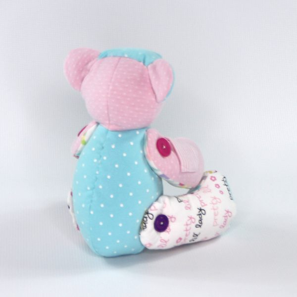 Back view of weighted bear for infant loss from kids clothes. Perfect stillborn gift or gift to someone who has lost a child.