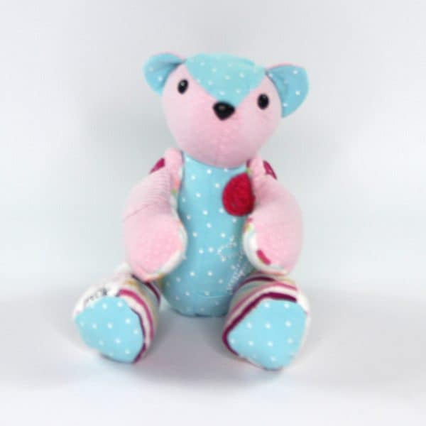 A weighted bear for infant loss from kids clohes. Perfect stillborn gift or gift to someone who has lost a child.