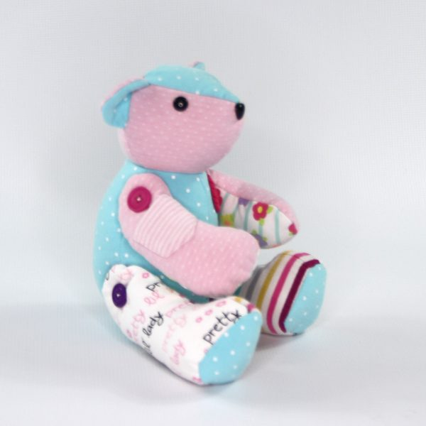 Side view of weighted bear for infant loss from kids clothes. Perfect stillborn gift or gift to someone who has lost a child.