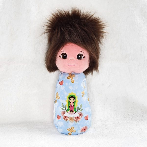 Our Lady of Guadalupe swaddle doll featuring OLG on a pretty blue background makes a wonderful baby's first doll.