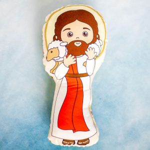 Jesus the good shepherd fabric doll is the perfect size for little hands to hold.