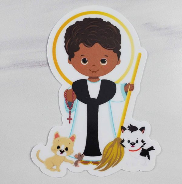 St. Martin de Porres vinyl sticker featuring him holding a broom with a dog, cat, and mouse at his feet.