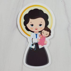 Vinyl sticker of St. Gianna Beretta Molla holding a child.
