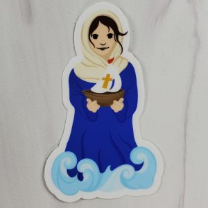 Stella Maris vinyl sticker with Mary standing in waves and holding a boat.