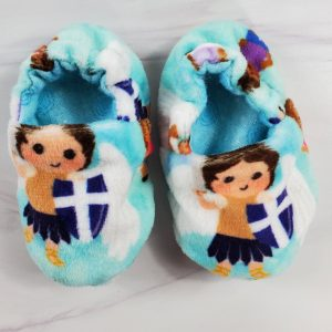 Baby booties featuring St. Michael the archangel.