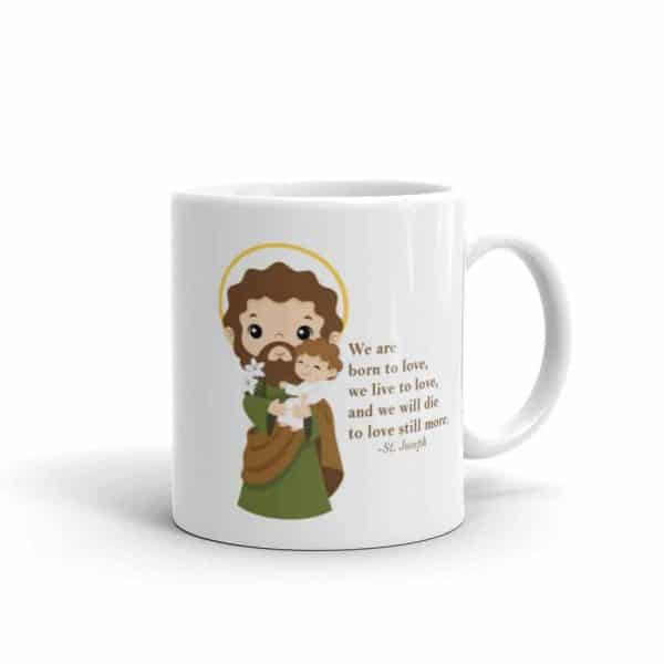 11 oz white St. Joseph ceramic coffee mug featuring St. Joseph and a quote about love.