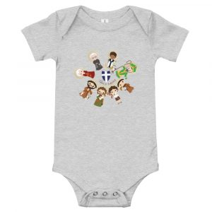 Athletic heather colored baby bodysuit featuring male saints and 'Saint in training.'