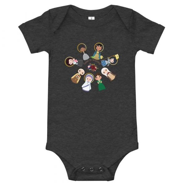 Dark grey heather colored baby bodysuit featuring female saints and 'Saint in training.'