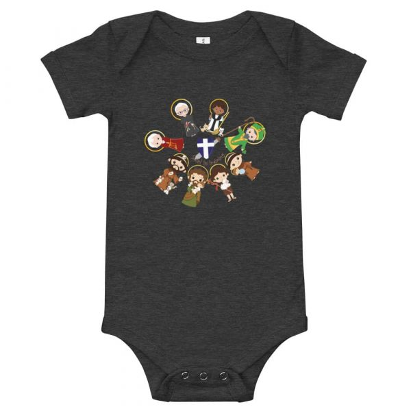Dark grey heather colored baby bodysuit featuring male saints and 'Saint in training.'