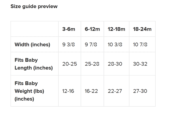 size guide for infant bodysuits
