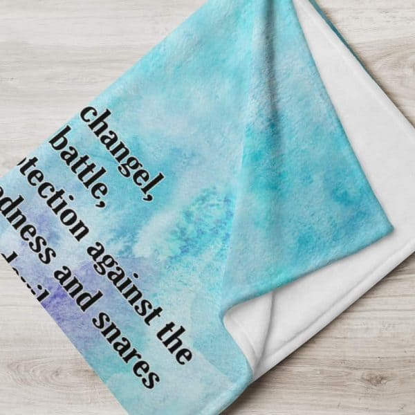 Aqua and teal St. Michael throw blanket featuring St. Michael and his prayer is a perfect Confirmation gift.